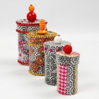 Papier-Mâché Boxes with Decoupage, Rhinestones and Beads