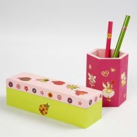 Painted wooden Items decorated with Stickers
