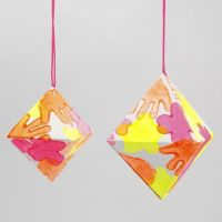 A Paper Diamond with Neon-Coloured Prints