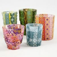 Candle Holders with patterned Decoupage Paper