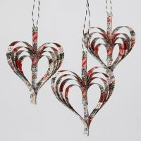 Hearts made from stapled-together Paper Star Strips