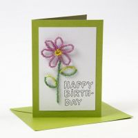 Postal Happy Moments con flor de cuentas rocalla