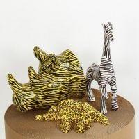 Animales de papel maché con decoupage