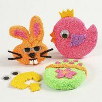 Imanes con formas de papel machéy Foam Clay con ojos móviles