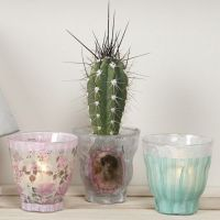 Candle Holders decorated with Decoupage Paper in Vivi Gade Design