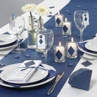 Decoración de mesa Happy Moments con menú azul