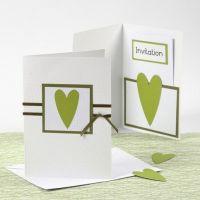 Invitación y menú de la serie Happy Moments blanco y verde