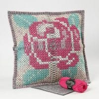 A Cushion with a Cross-Stitch Rose