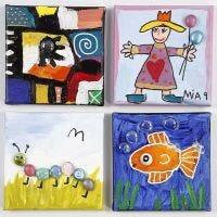 Pinturas decoradas con cristales decorativos sobre lienzo