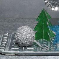 A crocheted Bauble from Glitter Yarn