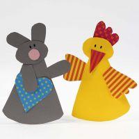 Conejo y pollito de Pascua de cartulina lisa y estampada