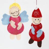 Un ángel y un Papa Noel hechos de fieltro con purpurina