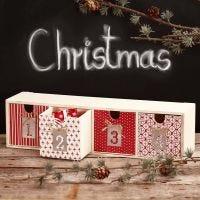 Decoupage sobre cajones para regalos de adviento
