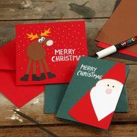 Postales con decoraciones navideñas de cartulina