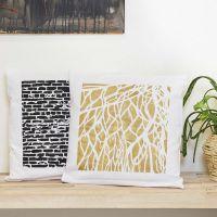 Decorar fundas de almohada con plantillas y pintura Art Metal