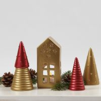 Decoraciones navideñas de terracota pintadas con pintura art metal