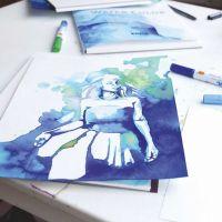 Una ilustración hecha con rotuladores de pintura de acuarela