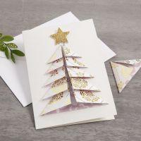 Postal con árbol de Navidad 3D de papeles diseño Vivi Gade