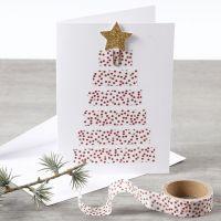 Postal con árbol de Navidad hecho con cinta adhesiva