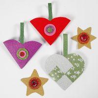 Decoraciones de papel de Navidad con purpurina con materiales del kit de decoración de Navidad