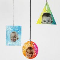 Decoraciones colgantes de placas de vidrio decoradas con impresiones, texto y gráficos