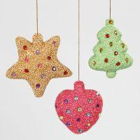 Decoraciones navideñas con poliestireno recubierto de Foam Clay y rocalla