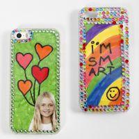 Funda de smartphone decorada con dibujos y rocalla
