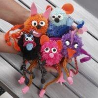 Animales fantasía Pom-pom con limpiapipas decorados con fieltro y Silk Clay