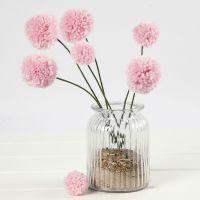 Flores de Pom-pom en tallos de alambre de aluminio