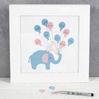 Un dibujo para invitados con elefantes