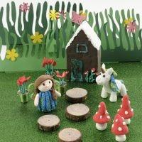 Una casa de hadas y un unicornio de Foam Clay