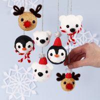 Bolas navideñas de animales polares de Foam Clay y Silk Clay