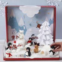 Maravilloso mundo invernal con figuras en miniatura de Foam Clay