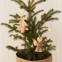 Un Ángel y árbol de Navidad de papel de cuero de imitación