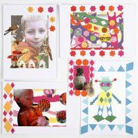 Un collage con diseños perforados