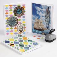 Un libro con un collage de papel Color Bar Paper y revistas