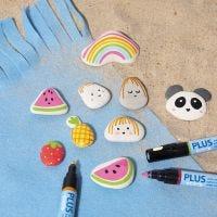 Pintar sobre piedras con marcadores Plus Color