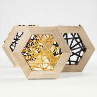 Arte de Cuerda con hilo de tubo de algodón en marcos de madera hexagonales.