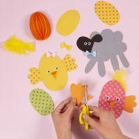 Crear tarjetas de pollitos y corderitos de Pascua con nuestro kit de Pascua.