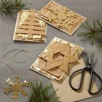 Tarjetas de Navidad decoradas con papel de imitación de cuero decoraciones colgantes