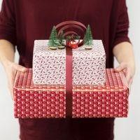 Decoración de regalo con un lazo decorativo y mini figuras.