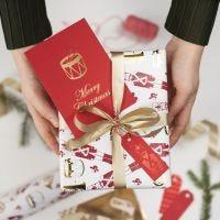 Etiqueta de Navidad decorada con foil