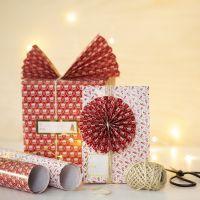 Envoltorio de Navidad con un abanico y un rosetón de papel