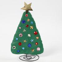 Un árbol de Navidad de alambre de Bonsai, vendas y piedrecitas rhinestone