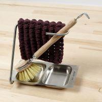 Un paño de cocina tejido a ganchillo con puntos garbanzo