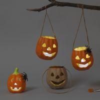 Farolillos para Halloween hechos de papel mâché y terracota