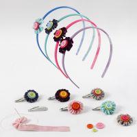 Accesorios para el pelo con flores hechas con cinta de terciopelo y botones