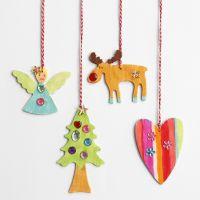 Decoraciones navideñas de madera para colgar con piedras preciosas de imitación
