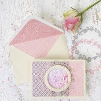 A Shaker Card with a Circle Design and matching Envelope from handmade Paper