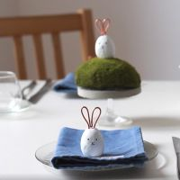 A rabbit place card made from Fimo Air modelling clay